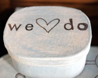 We Do ring box, Rustic wedding monogram burlap. White Gray ring bearer box with initials. ring bearer box