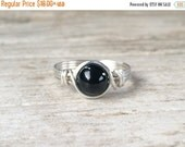 Valentines Day Sale Black Onyx Ring, Sterling Silver Filled Ring, Wire Wrapped Ring, Gemstone Ring, Stone Ring