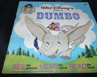 Vintage 1977 Dumbo Walt Disney See Hear Read Book and Record #324  33 1/3 RPM