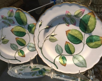 Antique Plates/Pair Minton Cabinet Plates/Majolica Display Plates/Embossed Leaves/Impressed Mark/Cabinet Display/Hand Painted
