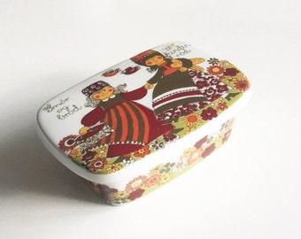 """ON SALE Figgjo Flint Turi """"Folklore"""" Butter Box //Norway"""