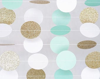 Mint and Gold Circle Dot Garland/ balloon tails