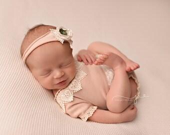 Newborn photo prop, Baby photo prop, Newborn romper, Baby romper, rose baby romper, newborn lace romper, baby romper set, newborn romper set