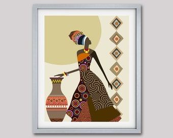 Afrocentric Art, African Woman  Art,  African Art painting, Black Woman Painting, Black Woman, Afrocentric  Decor