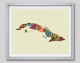 Cuba Map, Cuban Art, Cuban Decor, Cuba Poster, Havana Cuba Map Art Giclee Print Travel Art, Abstract Art