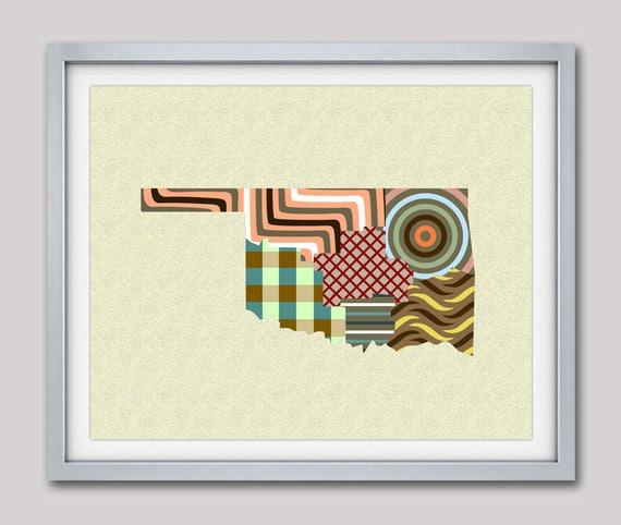 Oklahoma State Map Print, Map of Oklahoma, State Map, State Art, Oklahoma Art, Oklahoma Poster, Oklahoma decor
