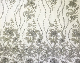 silver bead lace fabric, heavy beading lace fabric, bridal lace fabric with beading embroidery, by the yard