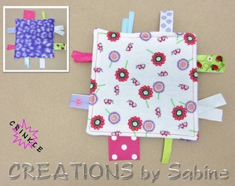Mini Crinkle Baby Tag Blanket Toy Sensory Pink Purple White Ladybugs Flowers Girl Polka Dots Ribbons Woodland Crackle READY TO SHIP (293a+b)