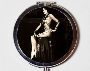 Flapper Showgirl Compact Mirror - Ziegfeld Follies Art Deco 1920s Jazz Age - Make Up Pocket Mirror for Cosmetics