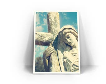 Magnolia Cemetery Photograph - Charleston photography, Travel Print, Wall Art, Religious, Catholic Statue, blue, cross bearer, Magdalene