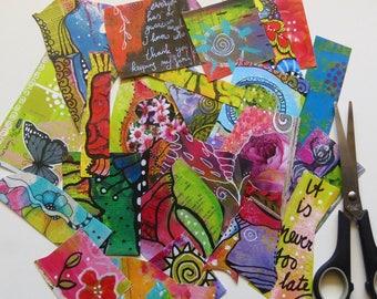 Collage kit, colorful bits 'n pieces, art kit, paper goodies, art cut outs, journaling, scrapbooking, creativity kit, art supplies