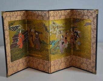 Folding screen, small Japanese byobu, decorative screen