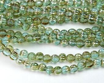 Aquamarine Celsian Czech Glass Beads, 5mm Melon - 50 pcs - eZ6001-05