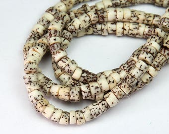 Salwag Beads, Natural, 6x5mm Pucalet - 16 inch Strand - eS917-6x5