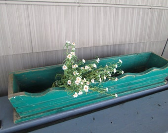 vintage farm green distressed flower box primitive shabby farmhouse decor,shabby distressed wooden rustic flower box,chippy industrial decor