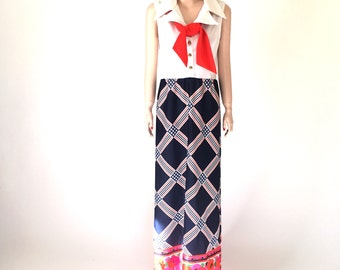 70s kitschy maxi dress in red white and blue | vintage size 8