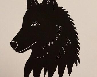 "Wolf in black - 5""x7"" original linocut block print"
