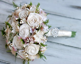 Large Ivory and cream Sola Bridal Bouquet,Romantic Bouquet,Roses,Gardenias,Hydrangeas,Pearls,Brooch,Lace Ribbon,Tallow berries