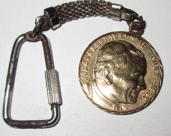 Beautiful Vintage Brass Key Ring / Medal of Pope John Paul II -  stamped 1983