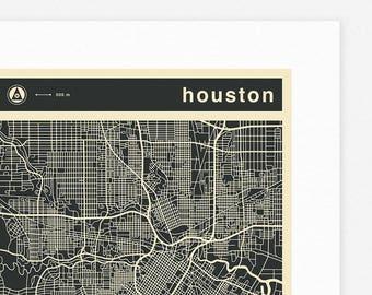 HOUSTON MAP (Giclée Fine Art Print, Photographic Print or Poster Print) mono version