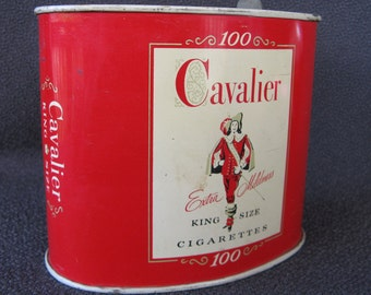 vintage red tobacco tin Cavalier cigarettes.