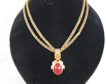 vintage Robert Rose necklace with double chain and pendant
