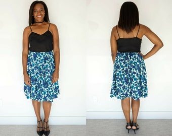 1960s Blue Floral A-Line Skirt