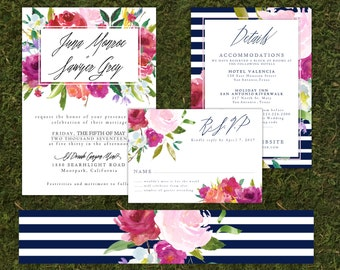 Navy and White Striped Modern Floral Watercolor Wedding Invitation with RSVP,  Details Card and Belly Band
