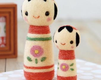 Big and Small Kokeshi Dolls Felt Wool Mascot Wool Felt Kit H441-409