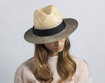 Two tone straw hat , Fedora straw hat ,  Fedora straw hat for women, straw hat for men, Summer hats , Sun Hat , Beach hat