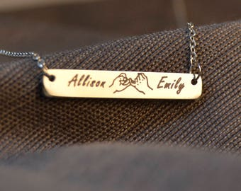 best friend gift, pinky promise necklace