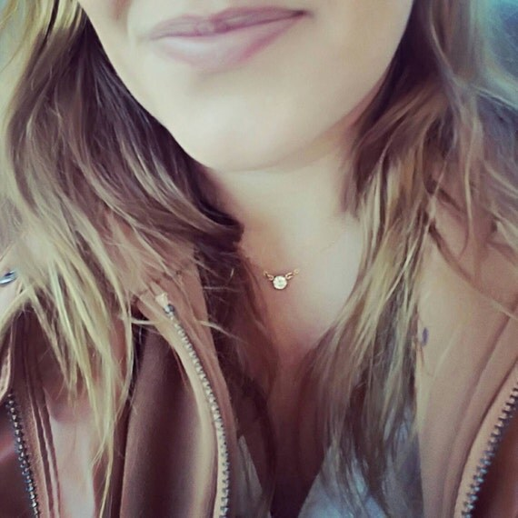 14kt Gold Filled Crystal necklace, Cubic Zirconia Necklace, Dainty Crystal choker, Sexy summer jewelry, Minimalist necklace, Bridal gift