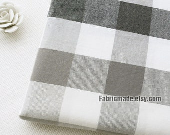Yarn Dye Large Plaid Cotton Fabric - Grey White Black Plaid Brushed Cotton Fabric 1/2 yard