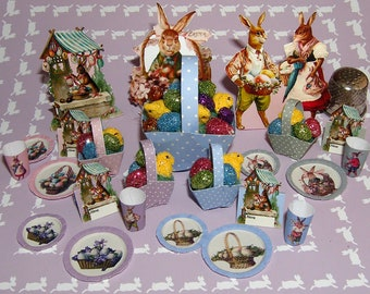 Easter, DIY kit from paper in miniature for the Doll House, Doll House, dollhouse miniatures # 40025