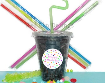 Happy Birthday Party Cups, Birthday Cups, Kids Birthday Party Cups, 20 Cups, Happy Birthday Kids Party Cups, Straws and Lids, 12 Ounce Cups