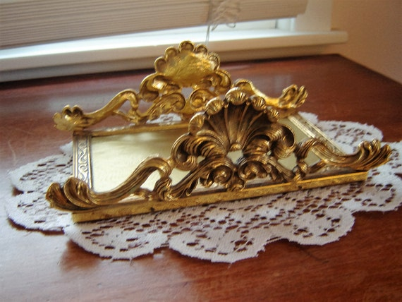 Vintage Ornate Gold Guest Towel Tray Bath Decor Home Decor