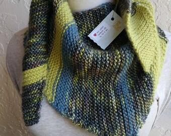Thick n thin knit squishy lime striped shawl