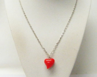 Red Roly Poly Acrylic Heart Pendant Necklace