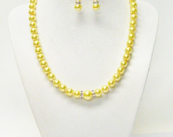 Beautiful Yellow Glass Pearl Necklace/Bracelet/Earrings