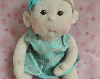 "Fretta's Flower BeBe Doll. 40.6 cm / 16"" Soft sculpture Baby Girl. Child Friendly Cloth Doll."
