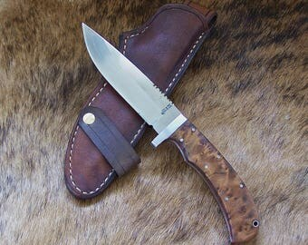 Fixed Blade Survival Knife, Hunting Knife with Thuya Burl Handles and Handcrafted Leather Sheath, #1716