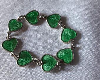 Danish vintage sterling silver pale green guilloche enamel hearts (8) - Volmer Bahner Denmark