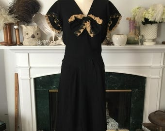 30s Rayon w/ sequined lace Evening dress