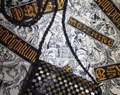 MOSCHINO /SILK SCARF / Black N Gold/ 1990s Rare /One of Kind/Vintage Silk Scarf