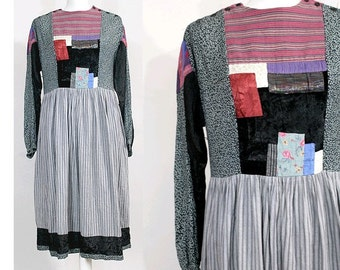 1970s René Derhy peasant dress / 1970 patchwork dress