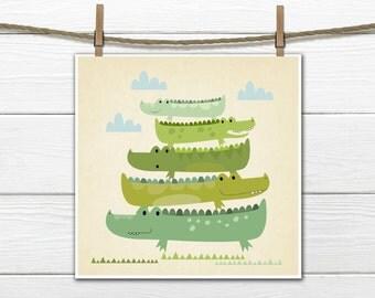 Alligator Nursery  - Stacking Alligators - Nursery Decor-