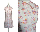 Reserved/SOLD - Cute 60's Dress - Pilgrim Collar - 1960's Vintage Dress - Retro Mini Dress - Pretty White Cotton Floral Dress