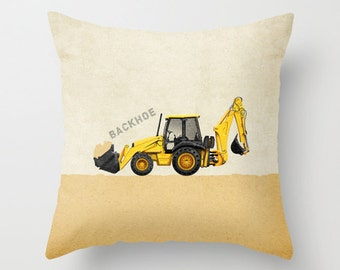 Backhoe Construction Throw Pillow Cover - Personalized with Name for Nursery or Big Kid Room Decor Dump Truck Excavator Bulldozer