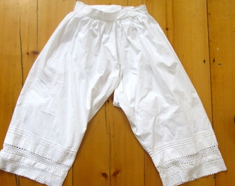Victorian Bloomers - White Cotton - Lace - Edwardian - Pantaloons - Antique Lingerie