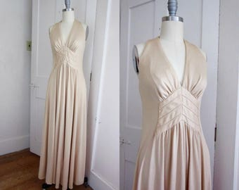 70s Halter Maxi Dress - Polyester - Open Back - Matching Scarf - Stretch - Small - Long Dress - Beige